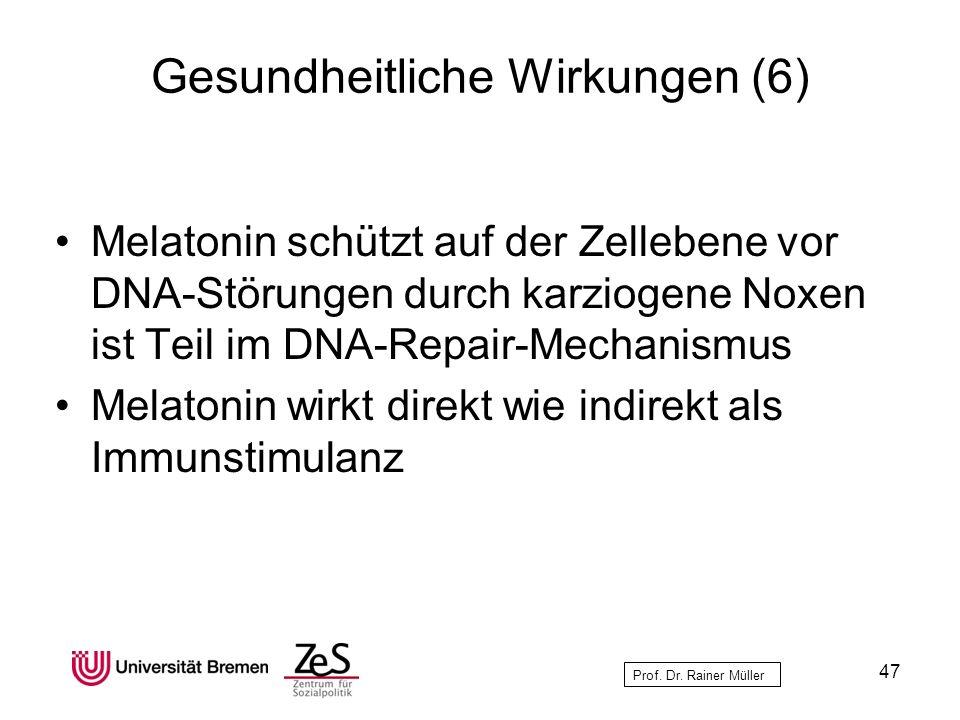 Prof. Dr. Rainer Müller Gesundheitliche Wirkungen (6) Melatonin schützt auf der Zellebene vor DNA-Störungen durch karziogene Noxen ist Teil im DNA-Rep