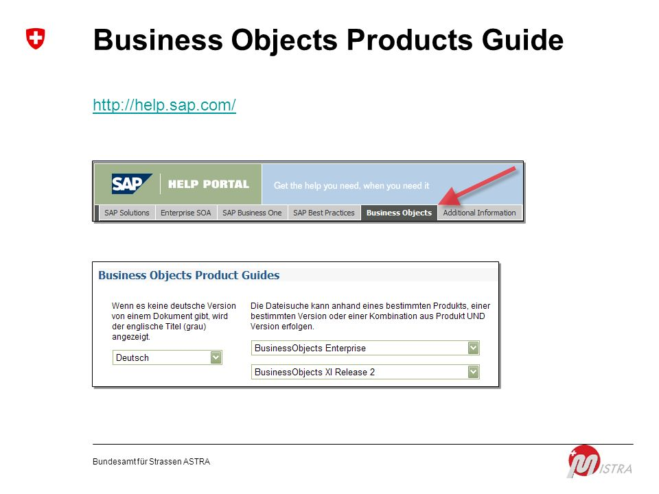 Bundesamt für Strassen ASTRA Business Objects Products Guide http://help.sap.com/