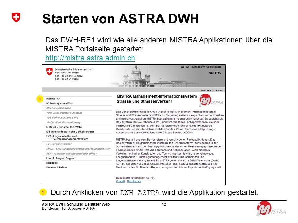 Bundesamt für Strassen ASTRA ASTRA DWH, Schulung Benutzer Web12 Starten von ASTRA DWH Das DWH-RE1 wird wie alle anderen MISTRA Applikationen über die