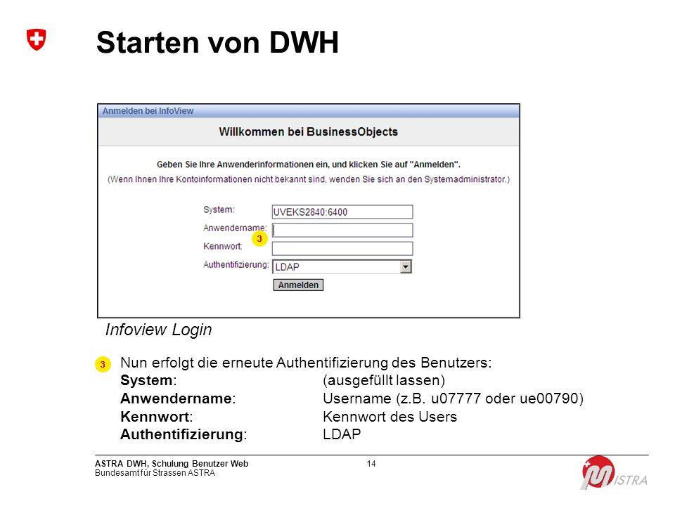 Bundesamt für Strassen ASTRA ASTRA DWH, Schulung Benutzer Web14 Starten von DWH Infoview Login Nun erfolgt die erneute Authentifizierung des Benutzers