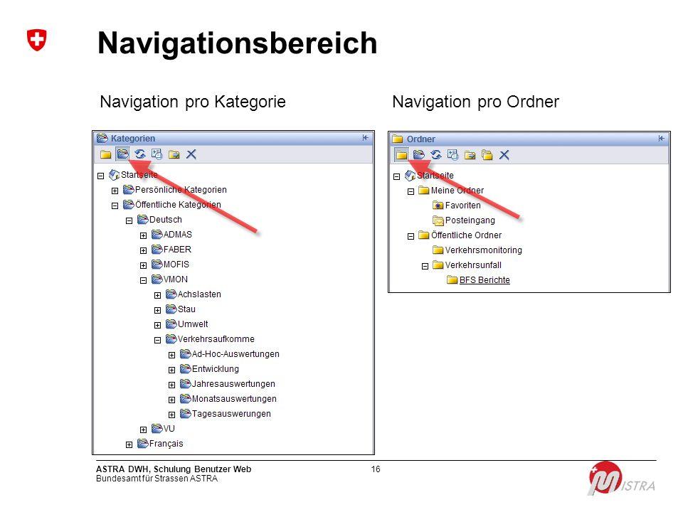 Bundesamt für Strassen ASTRA ASTRA DWH, Schulung Benutzer Web16 Navigationsbereich Navigation pro KategorieNavigation pro Ordner