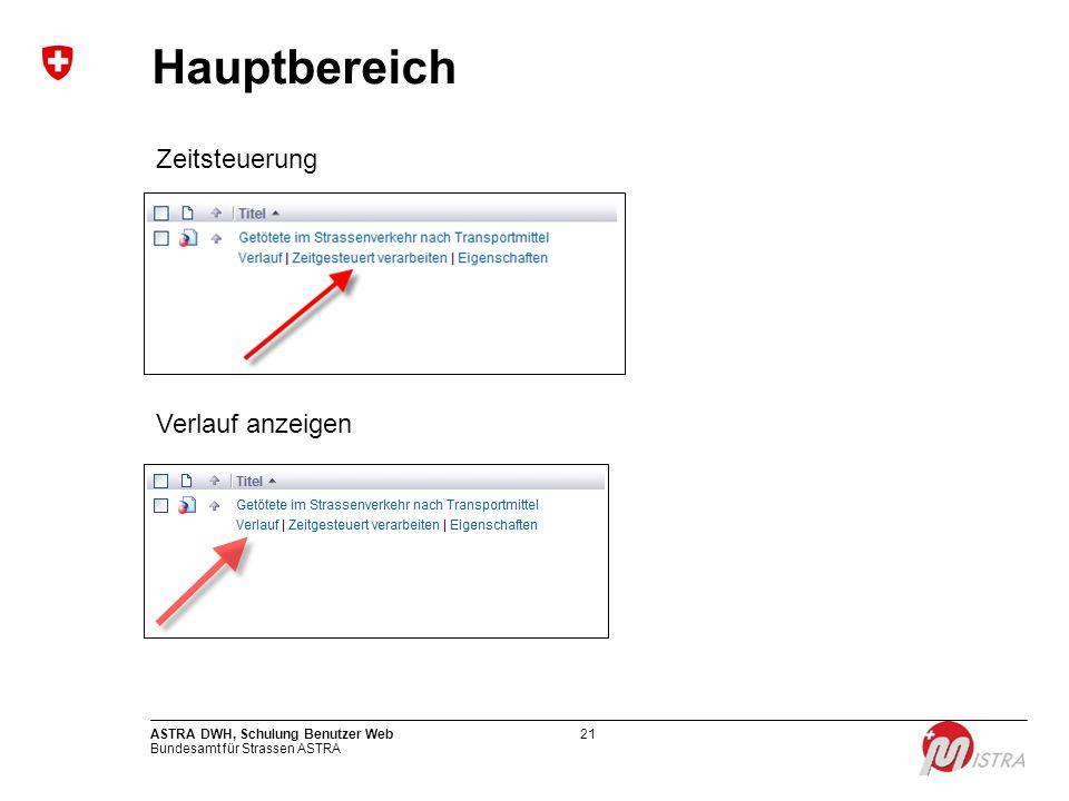 Bundesamt für Strassen ASTRA ASTRA DWH, Schulung Benutzer Web21 Hauptbereich Zeitsteuerung Verlauf anzeigen