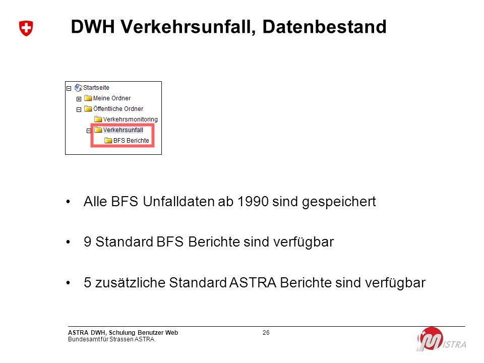 Bundesamt für Strassen ASTRA ASTRA DWH, Schulung Benutzer Web26 DWH Verkehrsunfall, Datenbestand Alle BFS Unfalldaten ab 1990 sind gespeichert 9 Stand