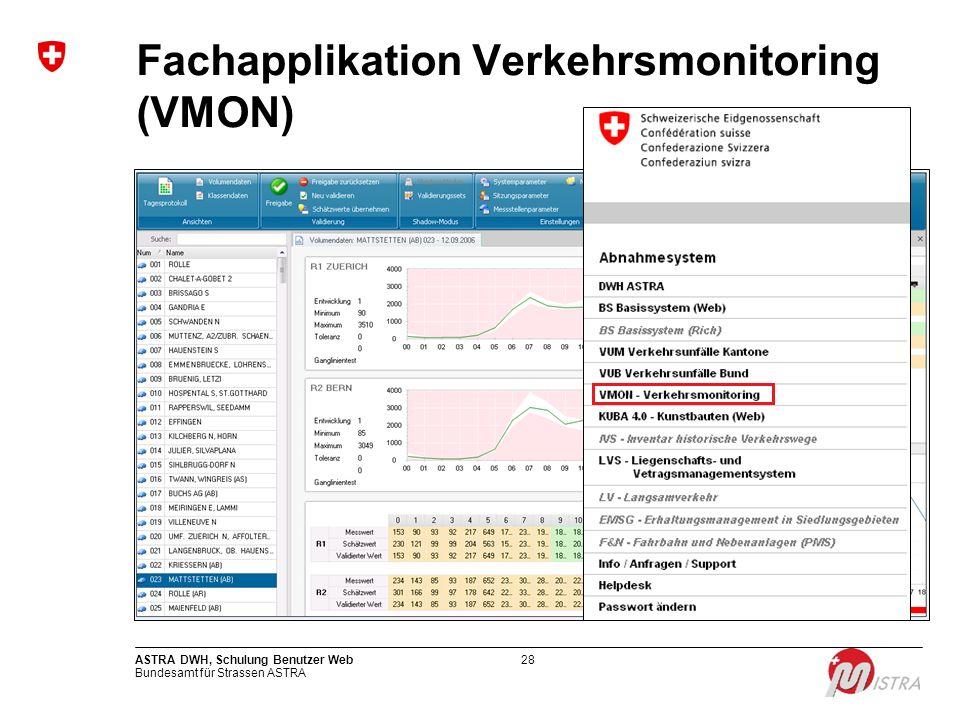 Bundesamt für Strassen ASTRA ASTRA DWH, Schulung Benutzer Web28 Fachapplikation Verkehrsmonitoring (VMON)