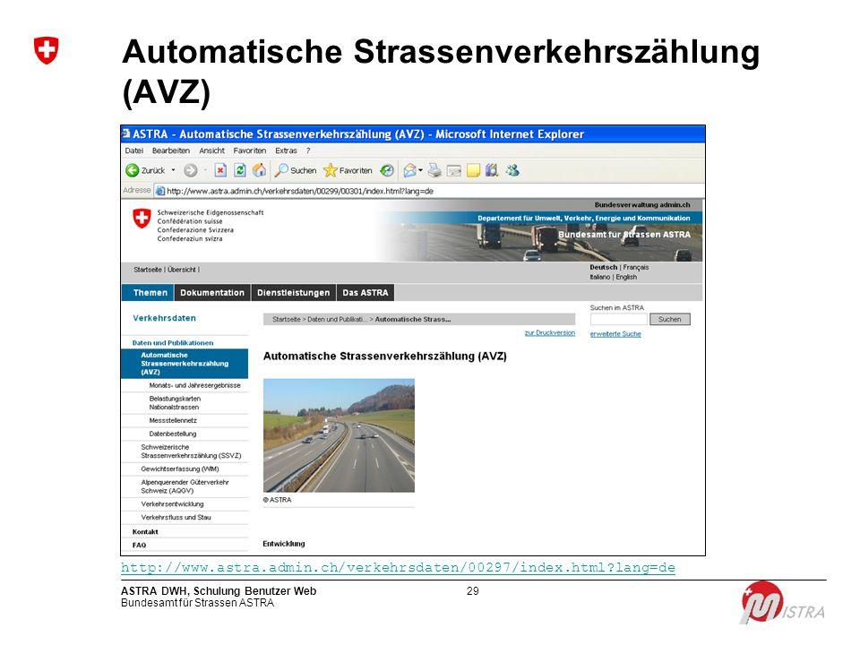 Bundesamt für Strassen ASTRA ASTRA DWH, Schulung Benutzer Web29 Automatische Strassenverkehrszählung (AVZ) http://www.astra.admin.ch/verkehrsdaten/002