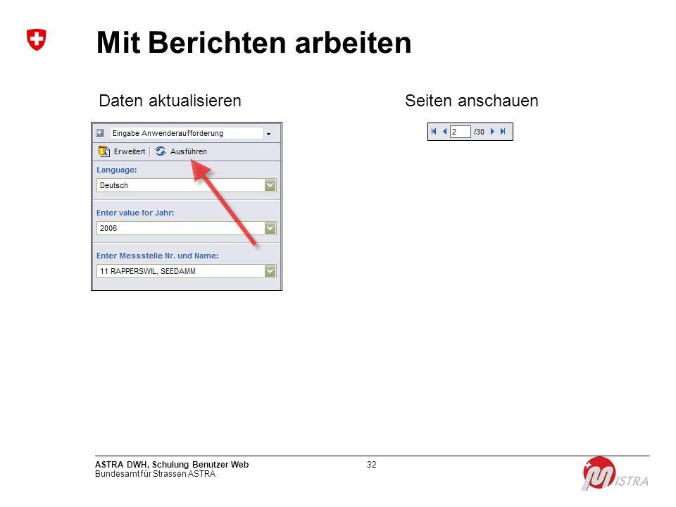 Bundesamt für Strassen ASTRA ASTRA DWH, Schulung Benutzer Web32 Mit Berichten arbeiten Daten aktualisierenSeiten anschauen