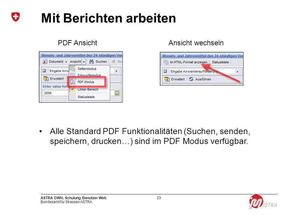 Bundesamt für Strassen ASTRA ASTRA DWH, Schulung Benutzer Web33 Mit Berichten arbeiten PDF AnsichtAnsicht wechseln Alle Standard PDF Funktionalitäten