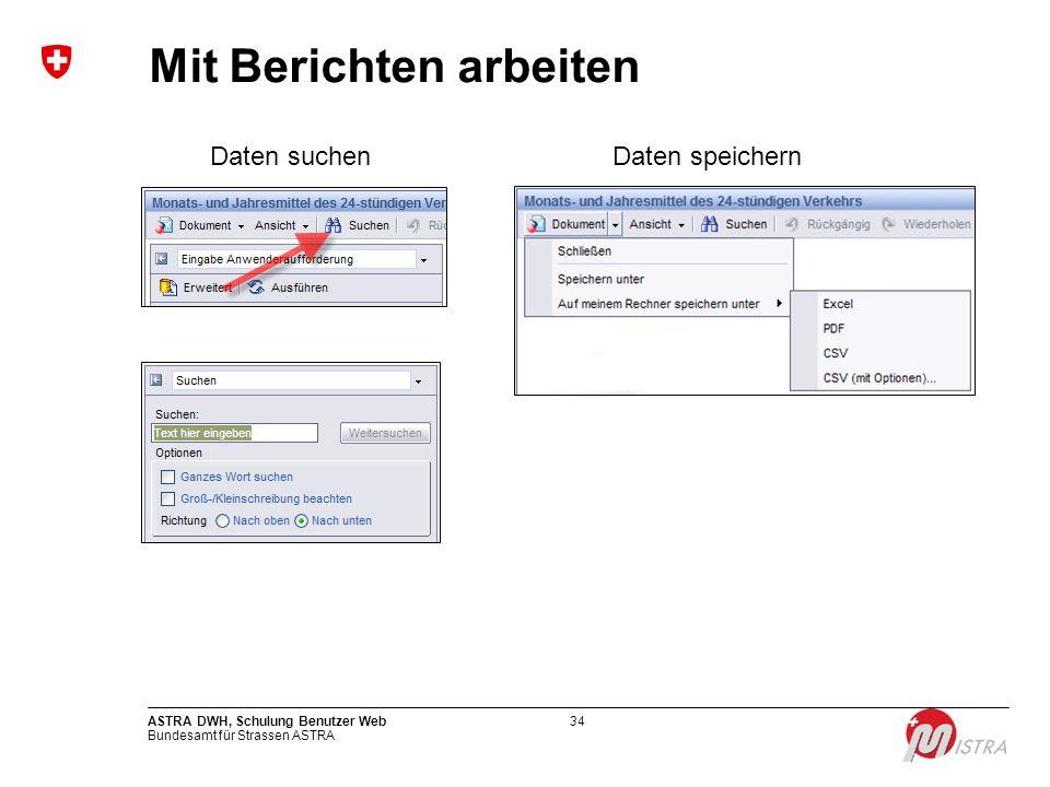 Bundesamt für Strassen ASTRA ASTRA DWH, Schulung Benutzer Web34 Mit Berichten arbeiten Daten suchenDaten speichern