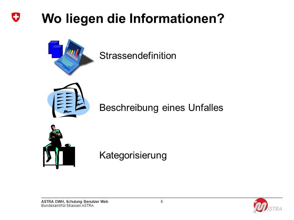 Bundesamt für Strassen ASTRA ASTRA DWH, Schulung Benutzer Web6 Wo liegen die Informationen? Kategorisierung Strassendefinition Beschreibung eines Unfa