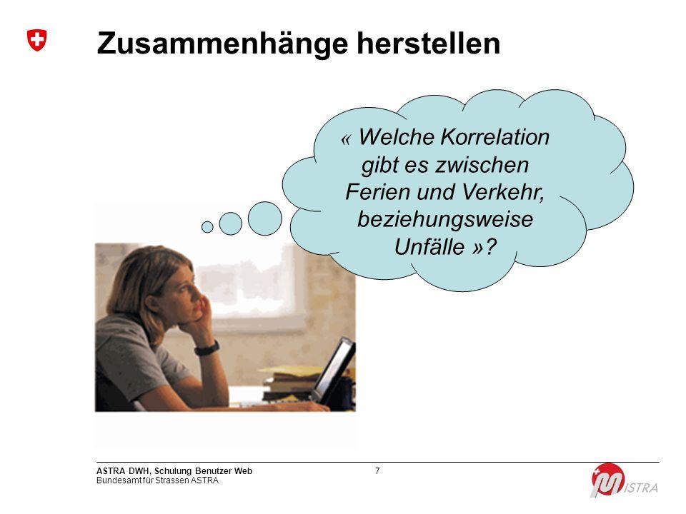 Bundesamt für Strassen ASTRA ASTRA DWH, Schulung Benutzer Web7 Zusammenhänge herstellen « Welche Korrelation gibt es zwischen Ferien und Verkehr, bezi