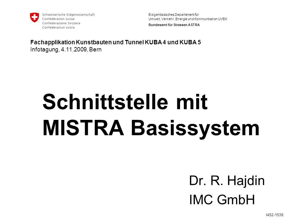 Eidgenössisches Departement für Umwelt, Verkehr, Energie und Kommunikation UVEK Bundesamt für Strassen ASTRA I452-1538 Schnittstelle mit MISTRA Basissystem Dr.