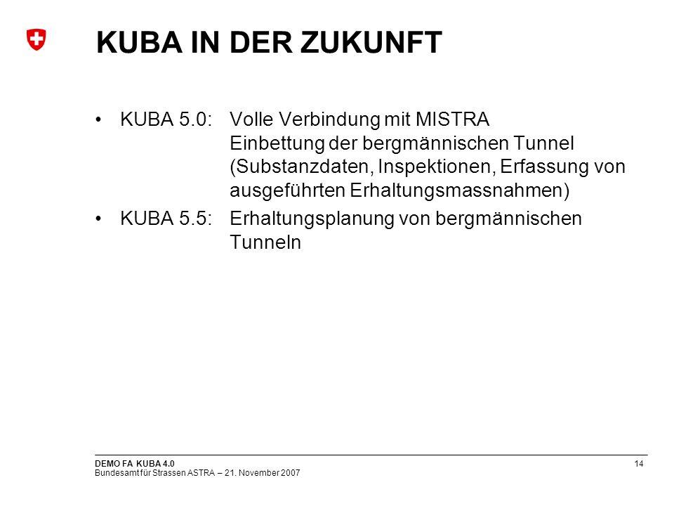 Bundesamt für Strassen ASTRA – 21. November 2007 DEMO FA KUBA 4.014 KUBA IN DER ZUKUNFT KUBA 5.0:Volle Verbindung mit MISTRA Einbettung der bergmännis