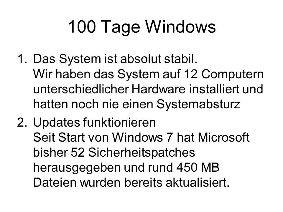 100 Tage Windows 1.Das System ist absolut stabil.
