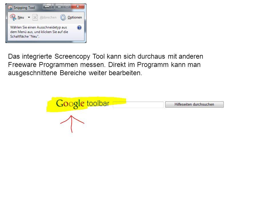 Das integrierte Screencopy Tool kann sich durchaus mit anderen Freeware Programmen messen.