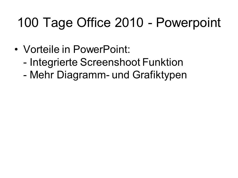 100 Tage Office 2010 - Powerpoint Vorteile in PowerPoint: - Integrierte Screenshoot Funktion - Mehr Diagramm- und Grafiktypen
