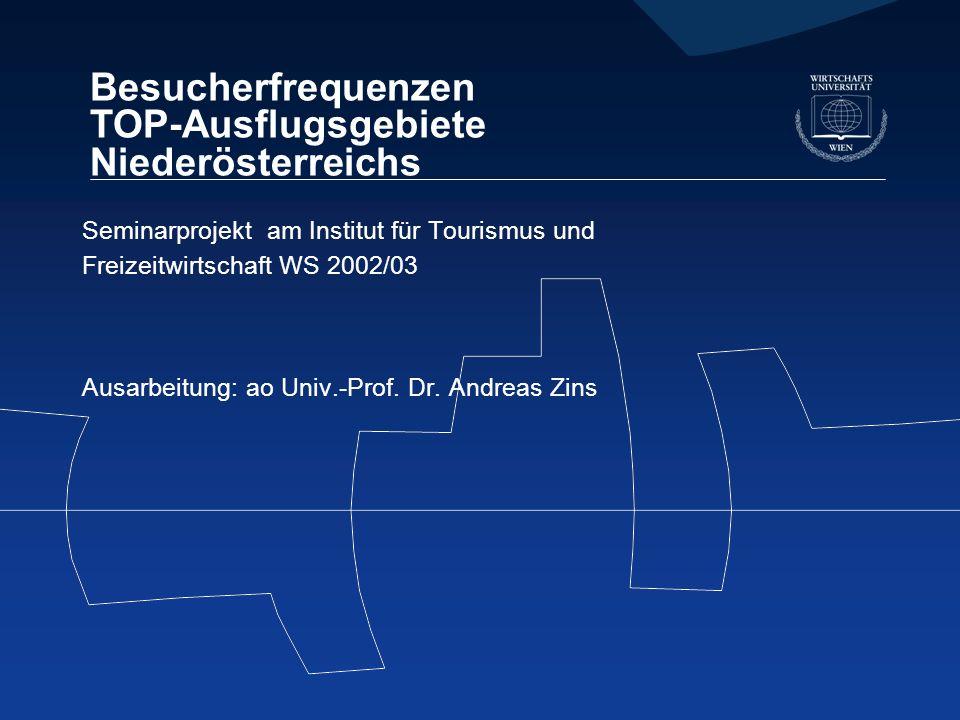 Besucherfrequenzen TOP-Ausflugsgebiete Niederösterreichs Seminarprojekt am Institut für Tourismus und Freizeitwirtschaft WS 2002/03 Ausarbeitung: ao Univ.-Prof.