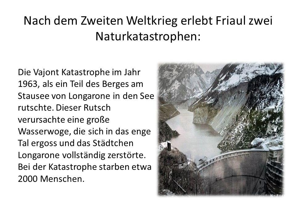 Die Vajont Katastrophe im Jahr 1963, als ein Teil des Berges am Stausee von Longarone in den See rutschte.