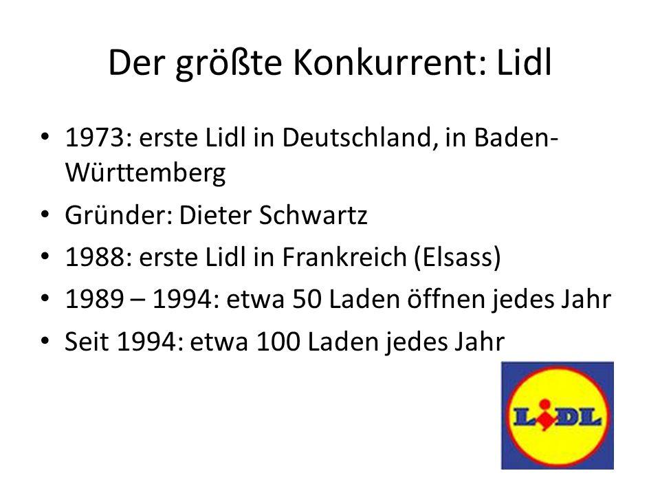 Der größte Konkurrent: Lidl 1973: erste Lidl in Deutschland, in Baden- Württemberg Gründer: Dieter Schwartz 1988: erste Lidl in Frankreich (Elsass) 1989 – 1994: etwa 50 Laden öffnen jedes Jahr Seit 1994: etwa 100 Laden jedes Jahr