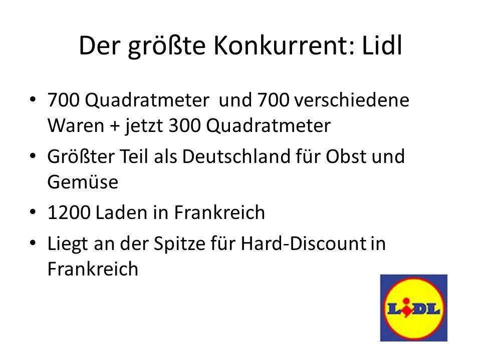 Der größte Konkurrent: Lidl 700 Quadratmeter und 700 verschiedene Waren + jetzt 300 Quadratmeter Größter Teil als Deutschland für Obst und Gemüse 1200 Laden in Frankreich Liegt an der Spitze für Hard-Discount in Frankreich