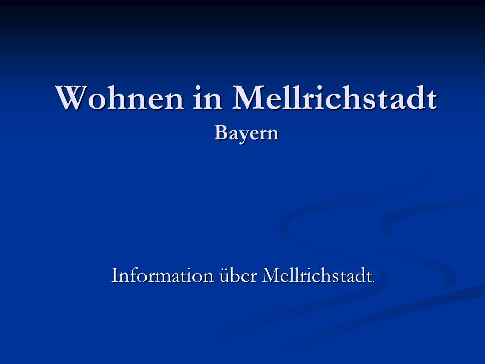 Wohnen in Mellrichstadt Bayern Information über Mellrichstadt.