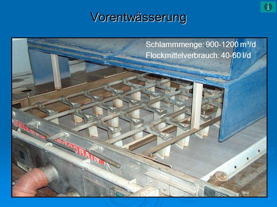 Vorentwässerung Schlammmenge: 900-1200 m³/d Flockmittelverbrauch: 40-60 l/d