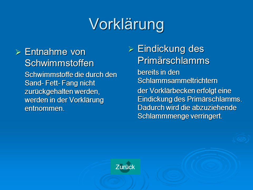 Vorklärung Entnahme von Schwimmstoffen Entnahme von Schwimmstoffen Schwimmstoffe die durch den Sand- Fett- Fang nicht zurückgehalten werden, werden in der Vorklärung entnommen.