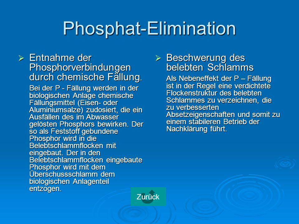 Phosphat-Elimination Entnahme der Phosphorverbindungen durch chemische Fällung.