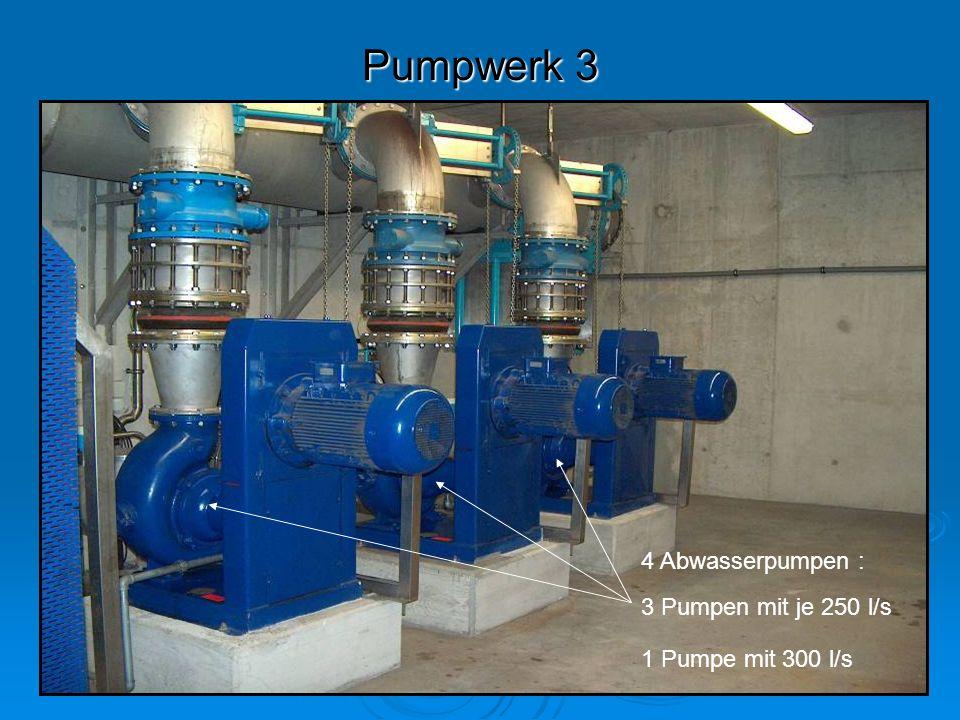Pumpwerk 3 4 Abwasserpumpen : 3 Pumpen mit je 250 l/s 1 Pumpe mit 300 l/s
