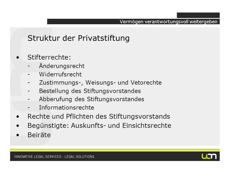 Vermögen verantwortungsvoll weitergeben Struktur der Privatstiftung Stifterrechte: -Änderungsrecht -Widerrufsrecht -Zustimmungs-, Weisungs- und Vetore