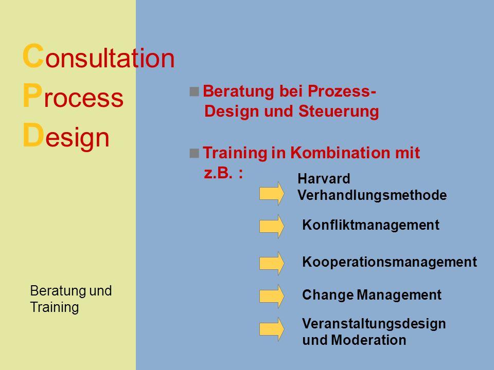 C onsultation P rocess D esign Beratung und Training Beratung bei Prozess- Design und Steuerung Training in Kombination mit z.B. : Harvard Verhandlung