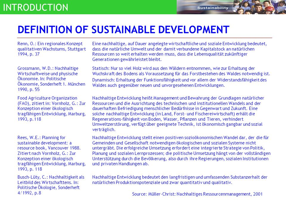 Sustainable development is defined as development that meets the needs of the present without compromising the ability of future generations to meet their own needs (WCED 1987) The fulfillment of recent generation needs without sacrificing the future generation needs: The natural resource exploitation in an efficient and wise manner, to maintain the environmental carrying capacity for supporting the development and human quality.