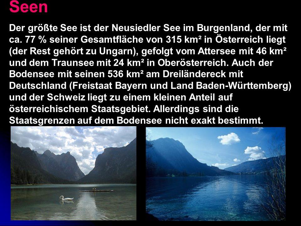 Flüsse Der größte Teil Österreichs, 80.566 km², wird über die Donau zum Schwarzen Meer entwässert, nur kleine Gebiete im Westen über den Rhein (2.366 km²) und im Norden über die Elbe (918 km²) zur Nordsee.