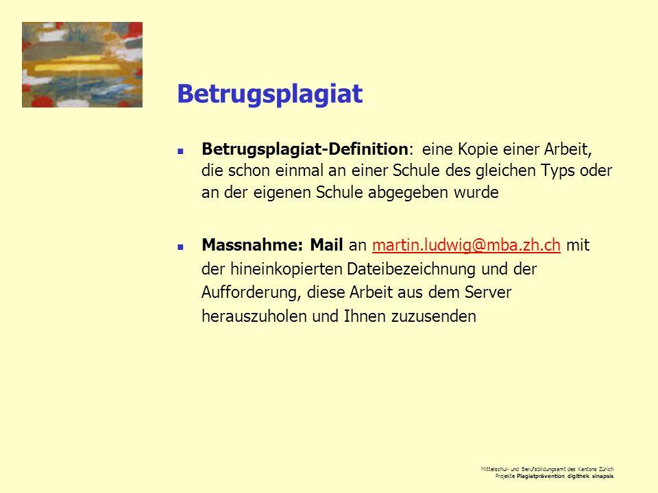 Mittelschul- und Berufsbildungsamt des Kantons Zürich Projekte Plagiatprävention digithek sinapsis Betrugsplagiat Betrugsplagiat-Definition: eine Kopi