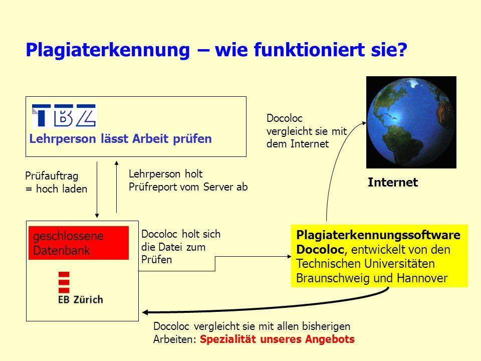 Plagiaterkennung – wie funktioniert sie? Plagiaterkennungssoftware Docoloc, entwickelt von den Technischen Universitäten Braunschweig und Hannover ges