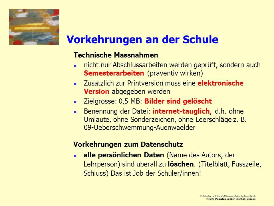 Mittelschul- und Berufsbildungsamt des Kantons Zürich Projekte Plagiatprävention digithek sinapsis Vorkehrungen an der Schule Technische Massnahmen ni