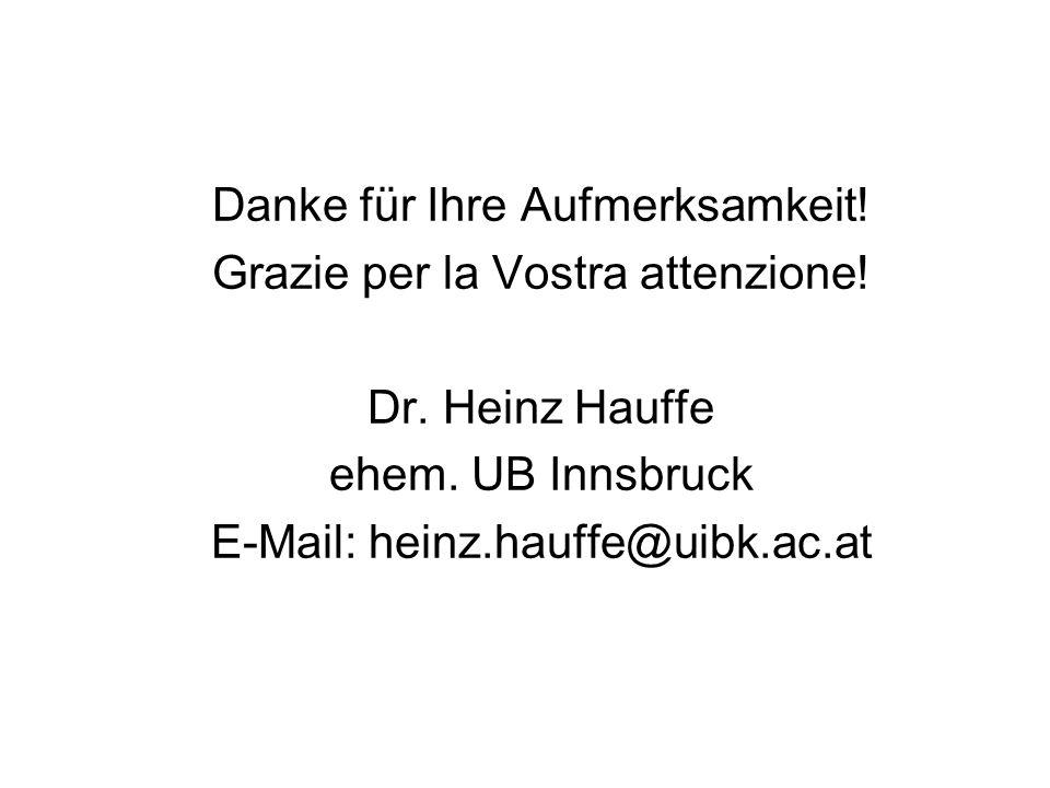 Danke für Ihre Aufmerksamkeit! Grazie per la Vostra attenzione! Dr. Heinz Hauffe ehem. UB Innsbruck E-Mail: heinz.hauffe@uibk.ac.at