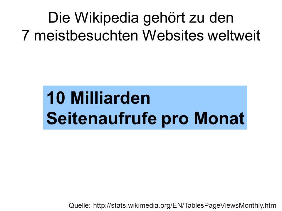 Die Wikipedia gehört zu den 7 meistbesuchten Websites weltweit 10 Milliarden Seitenaufrufe pro Monat Quelle: http://stats.wikimedia.org/EN/TablesPageV