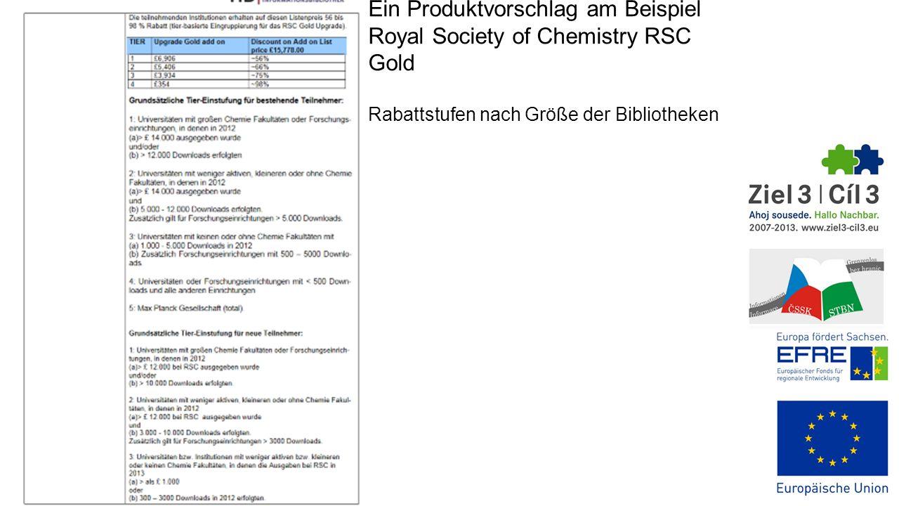Ein Produktvorschlag am Beispiel Royal Society of Chemistry RSC Gold Rabattstufen nach Größe der Bibliotheken