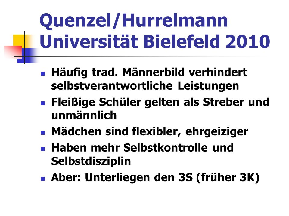 Quenzel/Hurrelmann Universität Bielefeld 2010 Häufig trad.