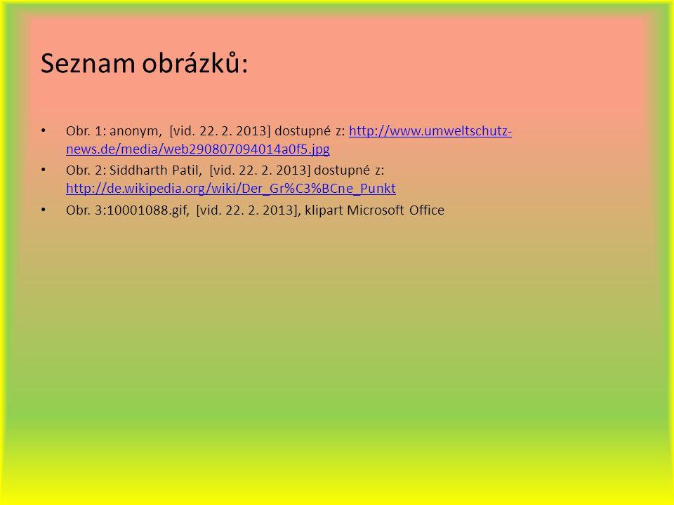 Seznam obrázků: Obr. 1: anonym, [vid. 22. 2. 2013] dostupné z: http://www.umweltschutz- news.de/media/web290807094014a0f5.jpghttp://www.umweltschutz-