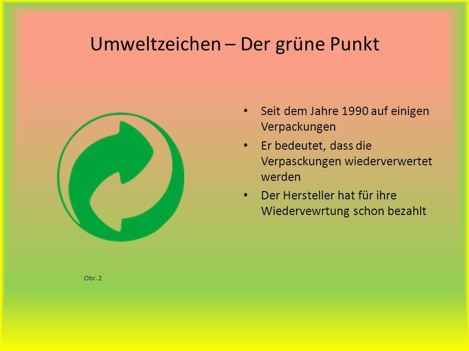 Umweltzeichen – Der grüne Punkt Seit dem Jahre 1990 auf einigen Verpackungen Er bedeutet, dass die Verpasckungen wiederverwertet werden Der Hersteller