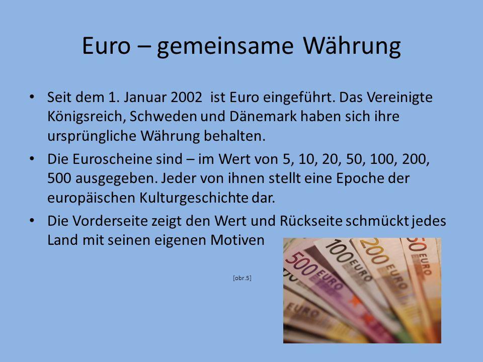 Symbole der EU Europamotto – in Vielfalt geeint – in varietate concordia [obr.4] Amtsprachen – Englisch, Deutsch und Französisch als 3 meistgesprochene Sprachen in Europa.