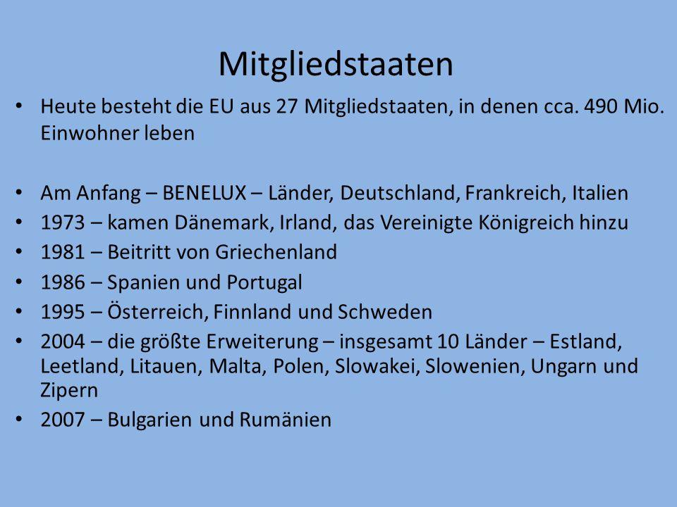 Geschichte der EU 1951 – Europäische Gemeinschaft für Kohle und Stahl, Mitgliedstaaten – Frankreich, Belgien, Italien, Luxemburg und die Niederlande 1957 – Europäische Wirtschftsgemeinschaft entstand auf Grund der Römischen Verträge.