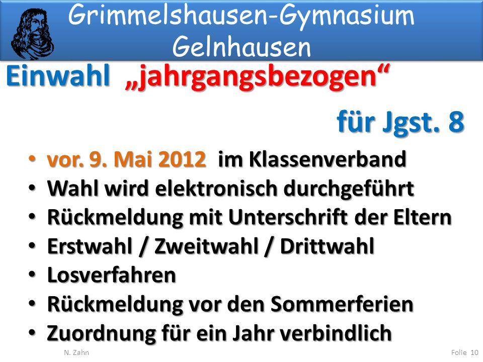 Grimmelshausen-Gymnasium Gelnhausen Einwahl jahrgangsbezogen für Jgst.