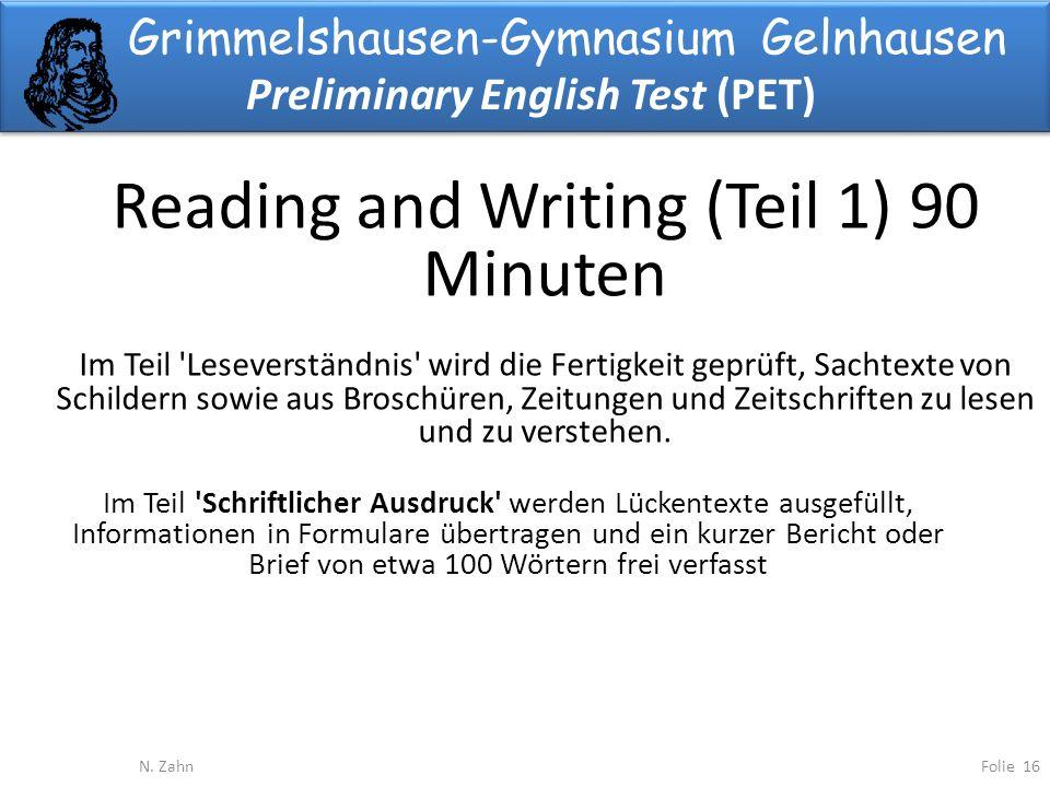Grimmelshausen-Gymnasium Gelnhausen Preliminary English Test (PET) Folie 16N.