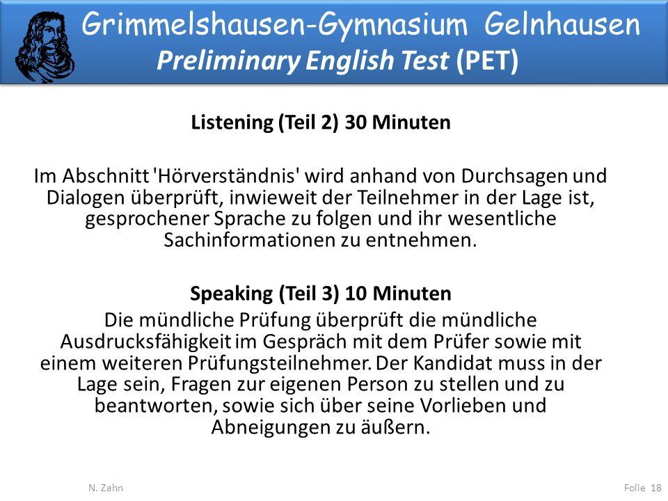 Grimmelshausen-Gymnasium Gelnhausen Preliminary English Test (PET) Folie 18N.