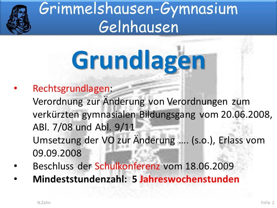 Grimmelshausen-Gymnasium Gelnhausen Grundlagen Folie 2N.Zahn Rechtsgrundlagen: Verordnung zur Änderung von Verordnungen zum verkürzten gymnasialen Bildungsgang vom 20.06.2008, ABl.