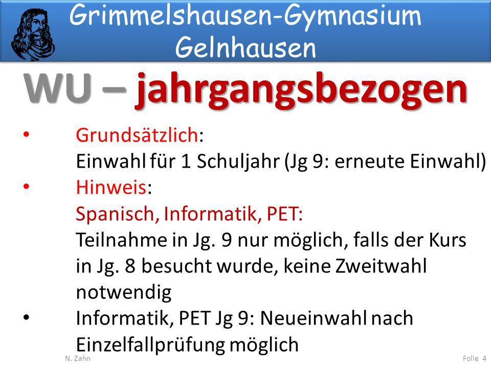 Grimmelshausen-Gymnasium Gelnhausen WU – jahrgangsbezogen Folie 4N.