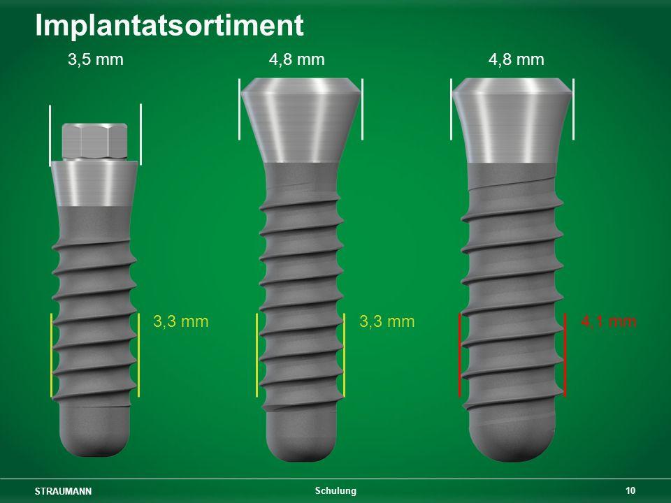 STRAUMANN 10 Schulung Implantatsortiment 3,5 mm 4,8 mm 4,8 mm 3,3 mm 3,3 mm 4,1 mm