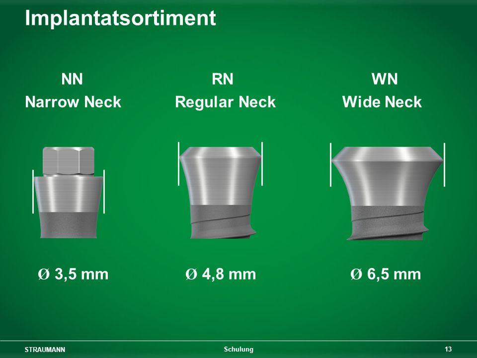 STRAUMANN 13 Schulung Implantatsortiment NN RN WN Narrow Neck Regular Neck Wide Neck Ø 3,5 mm Ø 4,8 mm Ø 6,5 mm